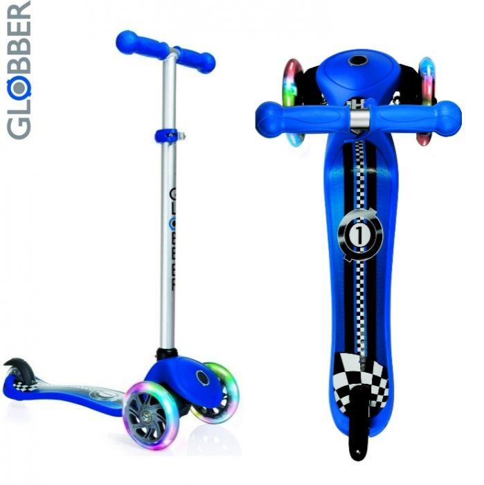 Самокат детский GLOBBER My free Print Fantasy RACING-02 dark blue светящиеся колеса
