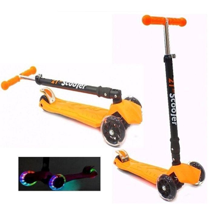 Самокат трехколесный 21st scooters складной SKL-07LC 21vek светящиеся колеса оранжевый