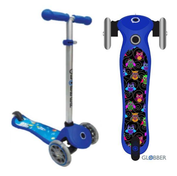 Самокат детский GLOBBER My free Print Fantasy Совы blue светящиеся колеса