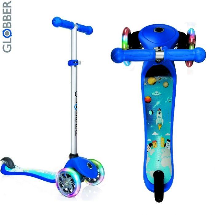 Самокат детский GLOBBER My free Print Fantasy ROCKET-01 dark blue светящиеся колеса