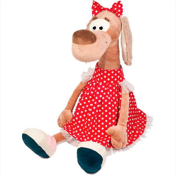 Мягкая игрушка Собачка Мила в платье в горошек 23 см MT-111606-23