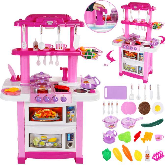 """Детская кухня с водой двухсторонняя 83 см """"Happy Little Chef"""" 33 предмета 768B"""