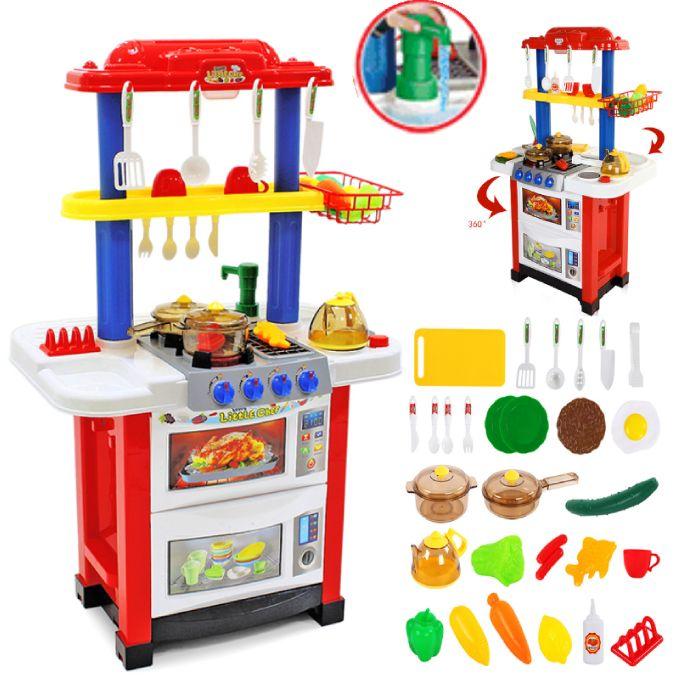 """Детская кухня с водой двухсторонняя 83 см """"Happy Little Chef"""" 33 предмета 768A"""
