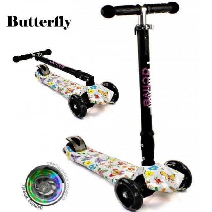 Самокат Triumf Active  Maxi Flash Plus Print SKL-07CLP Butterfly