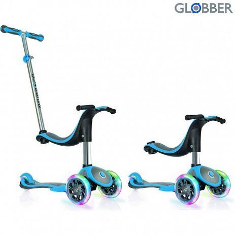 Самокат GLOBBER EVO 4 in 1 PLUS c подножками, с 3 светящимися колесами Blue