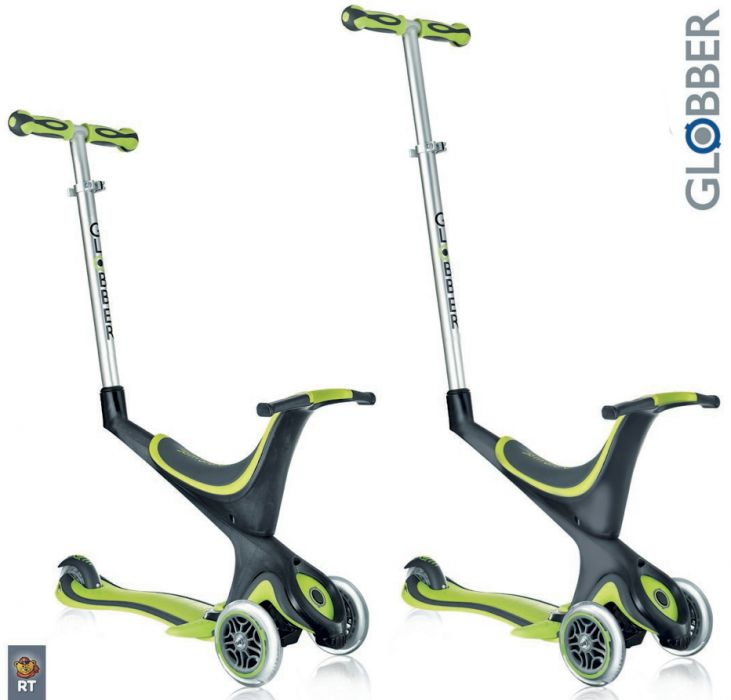 Самокат GLOBBER EVO 5 in 1 с 3 светящимися колесами Green