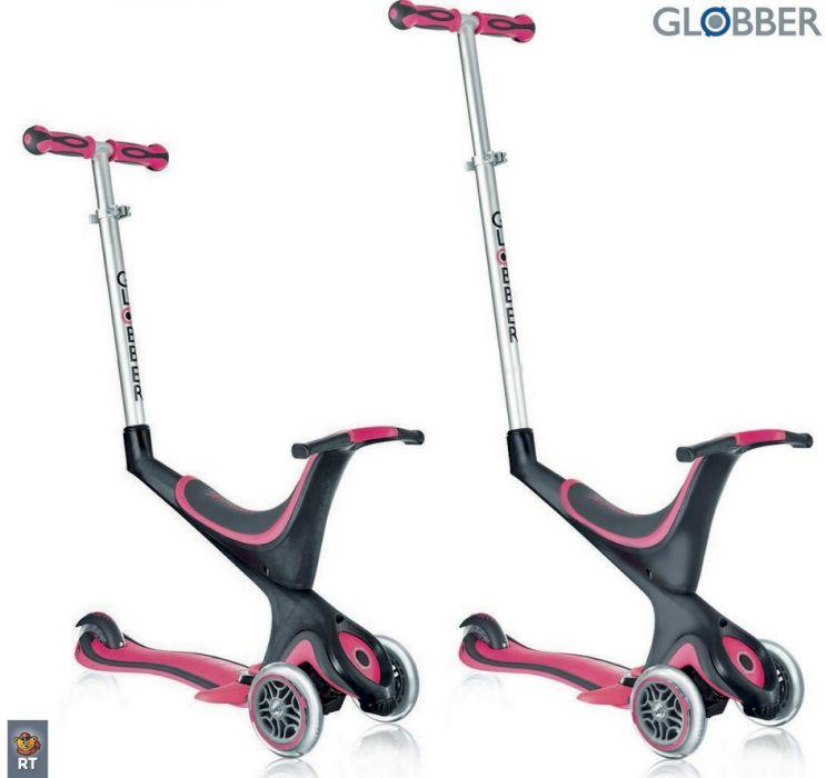 Самокат GLOBBER EVO 5 in 1 с 3 светящимися колесами Pink