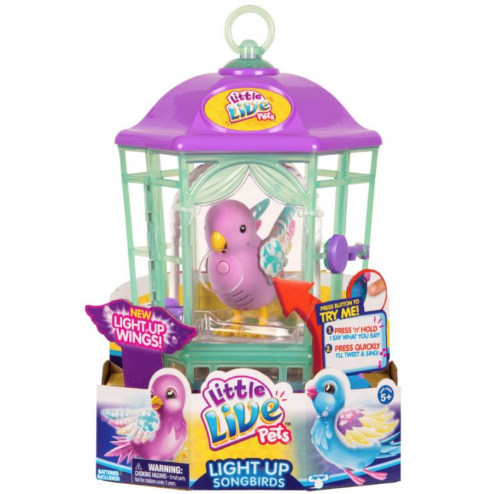 Интерактивная птичка в клетке - домике, со светящимися крылышками Радужный Свет Little Live Pets 28547