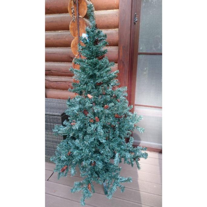 Новогодняя елка  искусственная с шишками голубая 180 см Е4042
