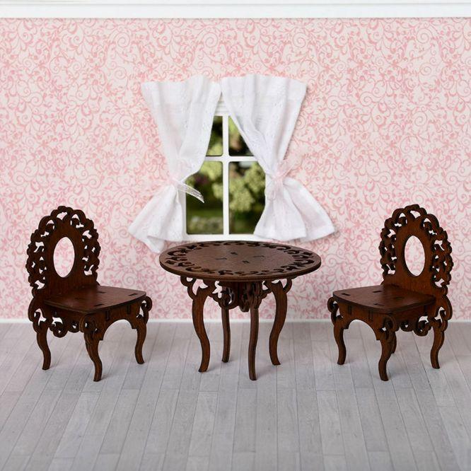 Мебель для кукол Одним прекрасным утром - Стол и два стула 59406