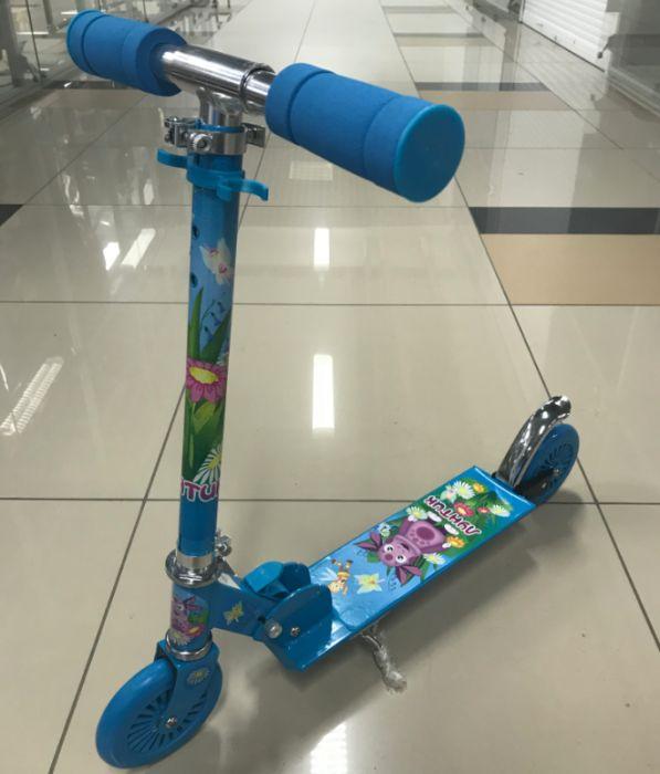 Самокат двухколесный Лунтик голубой СST-ALU-LUNTIK-BLUE