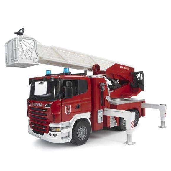 BRUDER Пожарная машина Scania с выдвижной лестницей и помпой 03-590