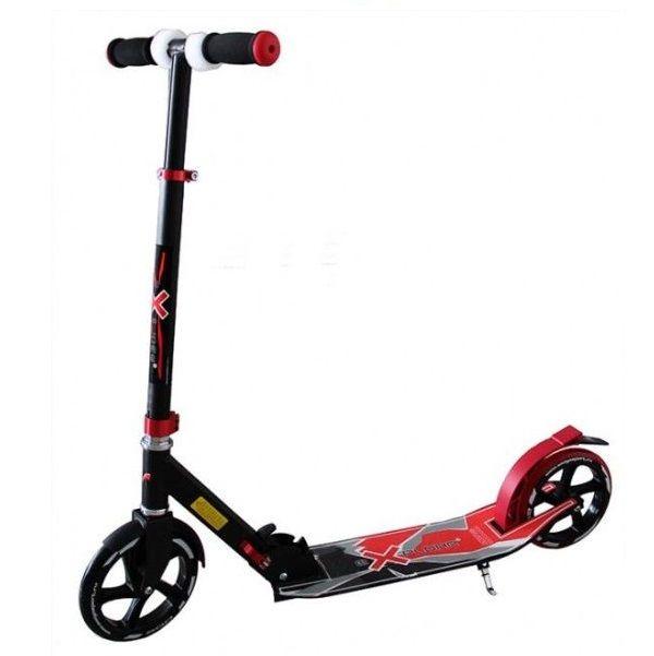 Самокат Explore Voltage с подножкой, складной 200 колесо красный