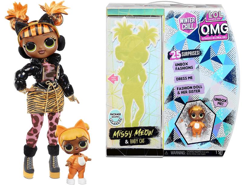 Кукла LOL surprise O.M.G. Winter Chill Missy Meow & Baby Cat 570271
