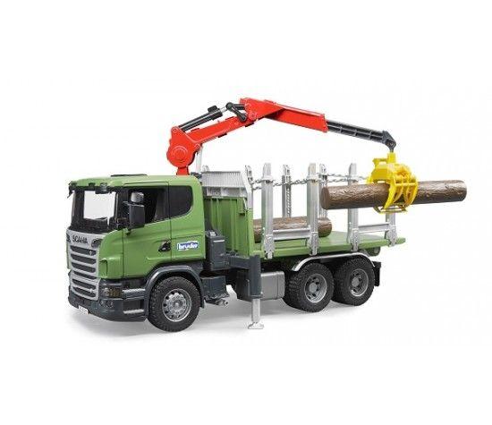 Лесовоз Scania с брёвнами и портативным краном Брудер Bruder 03-524