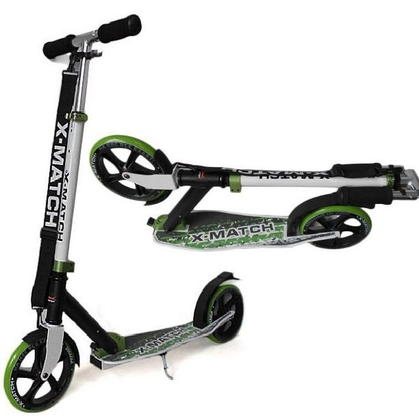 Самокат X-Match City складной, колесо 205мм зеленый