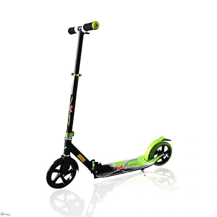 Самокат Explore Voltage с подножкой, складной 200 колесо зеленый