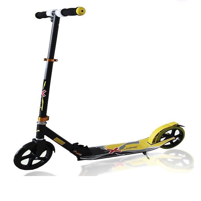 Самокат Explore Voltage с подножкой, складной 200 колесо жёлтый