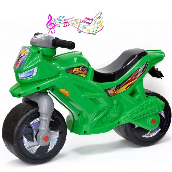 Каталка-мотоцикл беговел Racer RZ 1 ОР501 со звуком зеленый