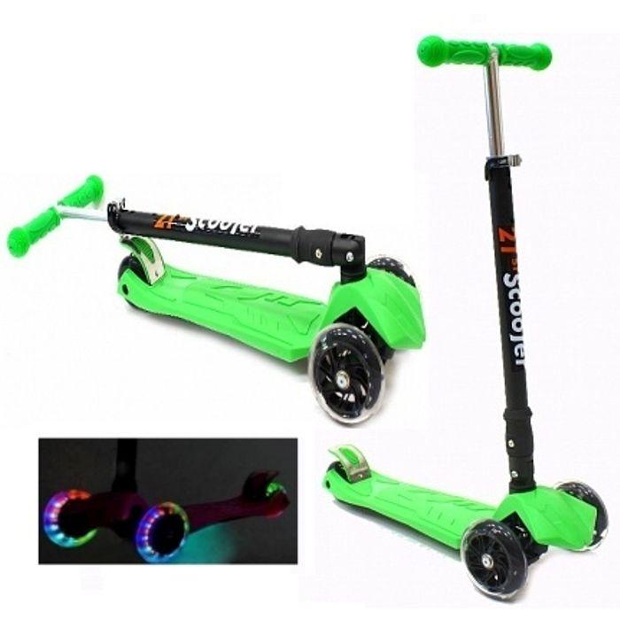 Самокат трехколесный 21st scooters складной SKL-07LC 21vek светящиеся колеса зеленый