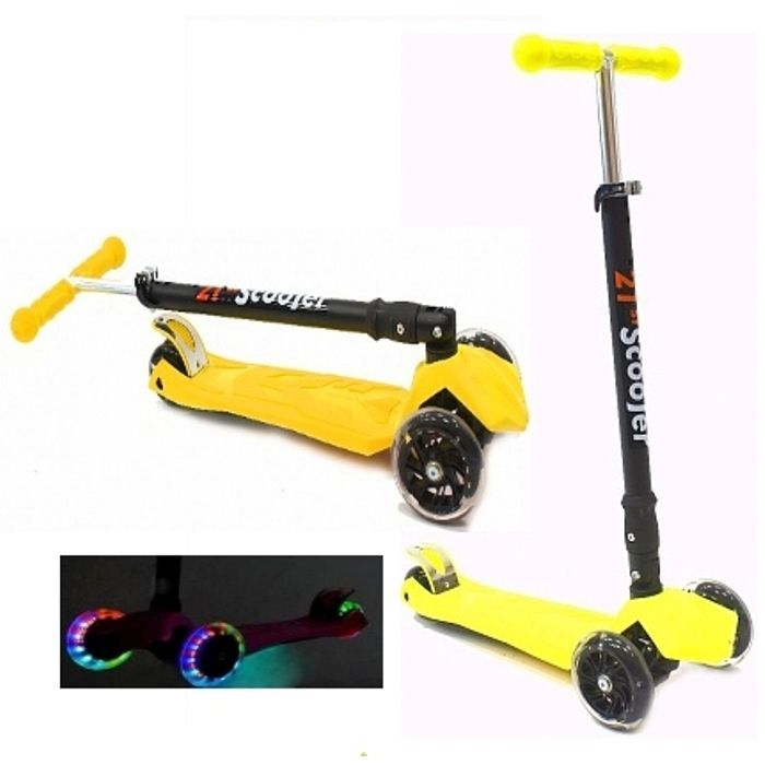 Самокат трехколесный 21st scooters складной SKL-07LC 21vek светящиеся колеса желтый