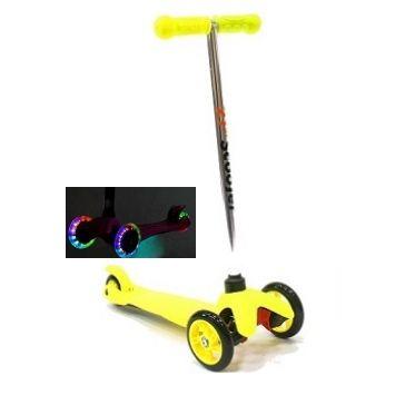 Трехколесный самокат 21st scooter mini со светящимися колесами 21vek желтый