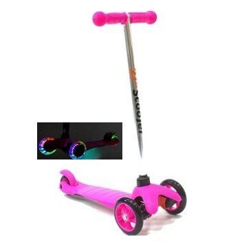 Трехколесный самокат 21st scooter mini со светящимися колесами 21vek розовый