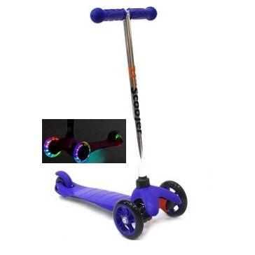 Трехколесный самокат 21st scooter mini со светящимися колесами 21vek синий