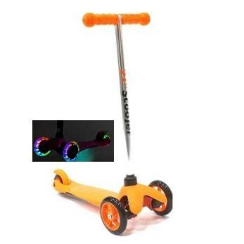 Трехколесный самокат 21st scooter mini со светящимися колесами 21vek оранжевый