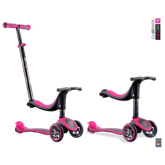 Самокат каталка трансформер Y-Scoo RT Globber My free Seat 4 in 1 TITANIUM neon pink с блокировкой колес