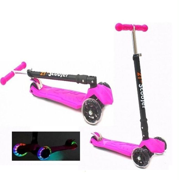 Самокат трехколесный 21st scooters складной SKL-07LC 21vek светящиеся колеса розовый