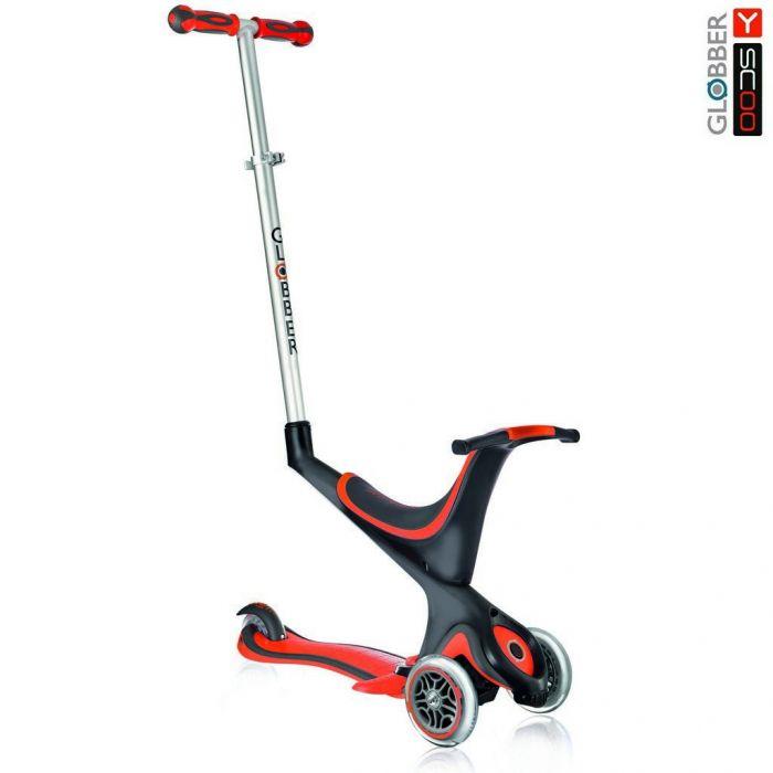 Самокат Y-Scoo RT Globber My free Seat 5 in 1 red с подножками и блокировкой колес