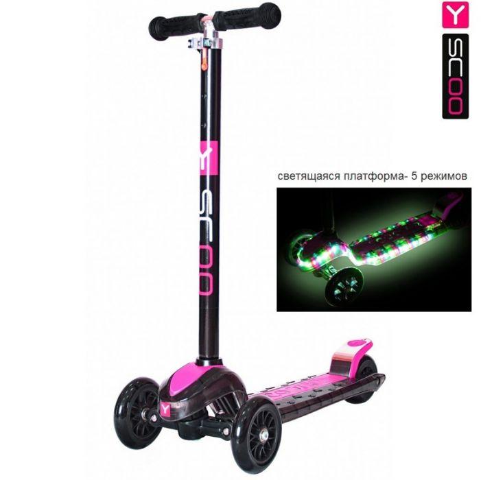 Самокат Y-Scoo Maxi Laser Show black/pink (платформа светится)
