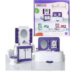 """Мебель для кукол  """"Ванная комната Конфетти"""" завод игрушек Огонек 1333 фиолетовая"""