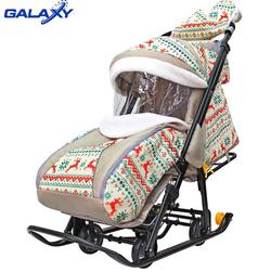 Санки-коляска Snow Galaxy Luxe Белая ночь Олени оранжевые
