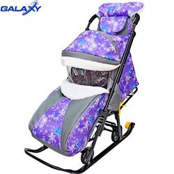 Санки-коляска Snow Galaxy Luxe Елки на фиолетовом
