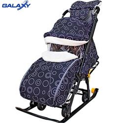 Санки-коляска Snow Galaxy Luxe Круги на черном