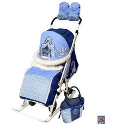 Санки-коляска Премиум Роял синие