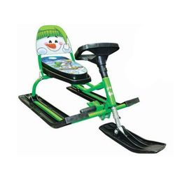 Снегокат Comfort со складной спинкой Снеговик зеленый