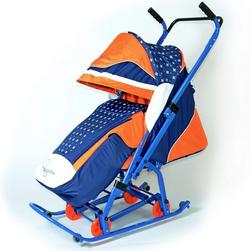 Санки коляска Скользяшки складные Синяя Мозаика 0911-Р14