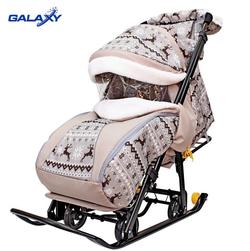 Санки-коляска Snow Galaxy Luxe  Скандинавия Олени коричниевые