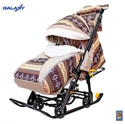 Санки-коляска Snow Galaxy Luxe  Скандинавия Снежинки коричниевые