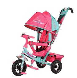 Детский трехколесный велосипед Beauty с надувными колесами BA2MP  бирюзово-розовый