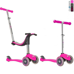 Самокат каталка трансформер Y-Scoo RT Globber My free NEW Technology Seat 4 in 1 с блокировкой колес pink