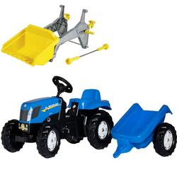 Трактор педальный с прицепом rollyKid Trailer NH T7040 013074/409310 от 2-х лет