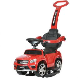 Детская машинка каталка-качалка с ручкой Mercedes Benz свет, звук,  A888AA-M красный