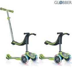 Самокат GLOBBER EVO 4 in 1 PLUS c подножками, с 3 светящимися колесами Green