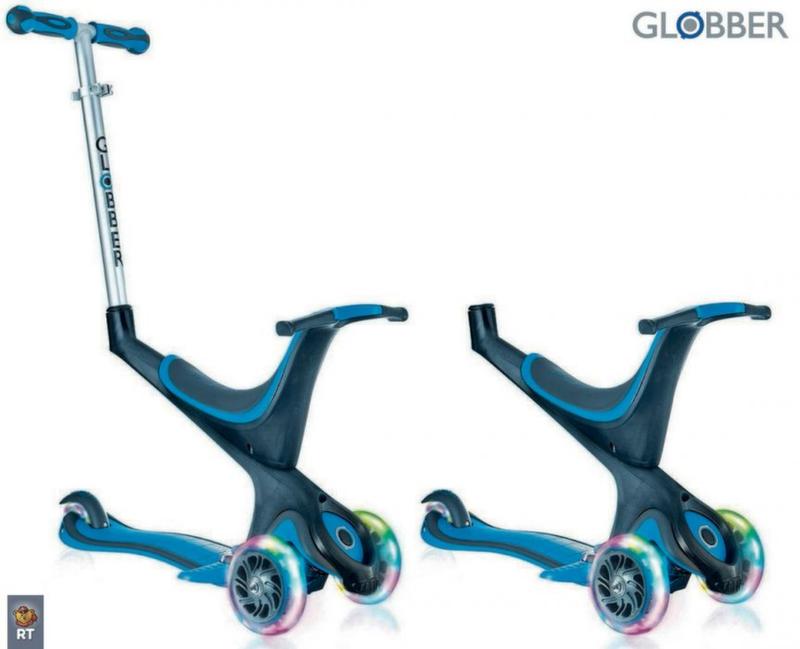 Самокат GLOBBER EVO 5 in 1 с 3 светящимися колесами Sky Blue