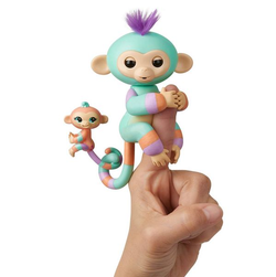 Интерактивная обезьянка с малышом Fingerlings Baby Monkey Mini BFFs - Danny & Gianna (Turquoise-Orange)