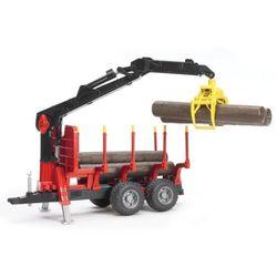BRUDER Прицеп для перевозки леса с манипулятором и брёвнами 02-252